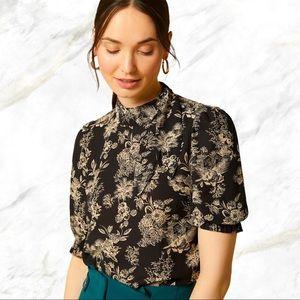 RW&Co   Cream Floral Printed Black Sheer Blouse